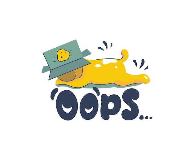 Cachorro caricaturizado y una frase de letras: ups. el perro gracioso hizo una broma con una caja.