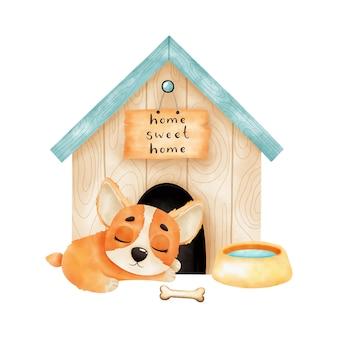 Cachorro de corgi acuarela durmiendo frente a la cabina. aislado sobre fondo blanco. ilustración acuarela