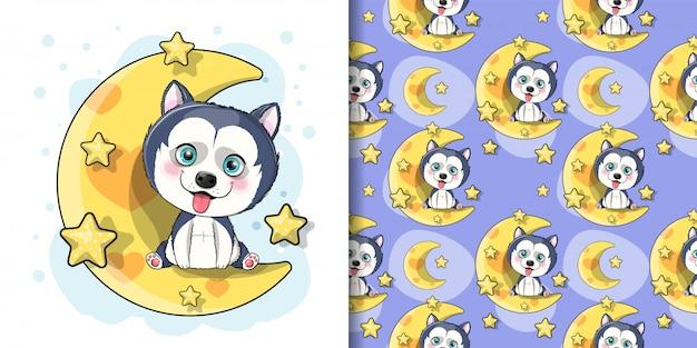 Cachorro husky de dibujos animados lindo con luna y estrellas