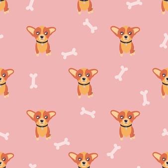 Cachorro de perro corgi de patrones sin fisuras sobre fondo rosa con huesos