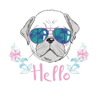 Cachorro pug en una diadema sobre fondo rosa. ilustración.