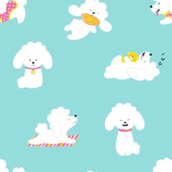 Cachorros de patrones sin fisuras. perros caniche pequeños blancos divertidos en una rutina diaria. ilustración