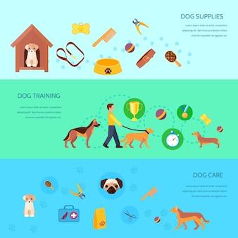 Cachorros de perros que entrenan a alimentar productos para el cuidado y suministros 3 banners horizontales planas establecen ilustración de vector aislado abstracto