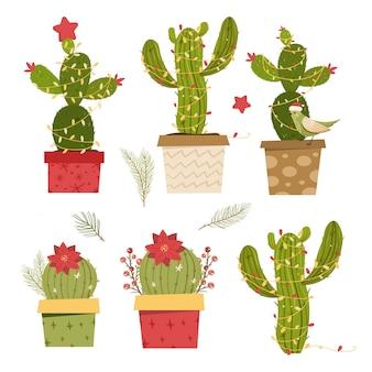 Cactus árbol de navidad. concepto plano moderno