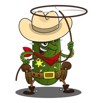 Cactus cowboy jugar vector de dibujos animados de cuerda