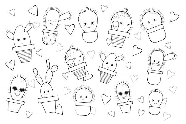 Cactus de dibujos animados divertido, libro para colorear. doodle estilo. ilustracion vectorial