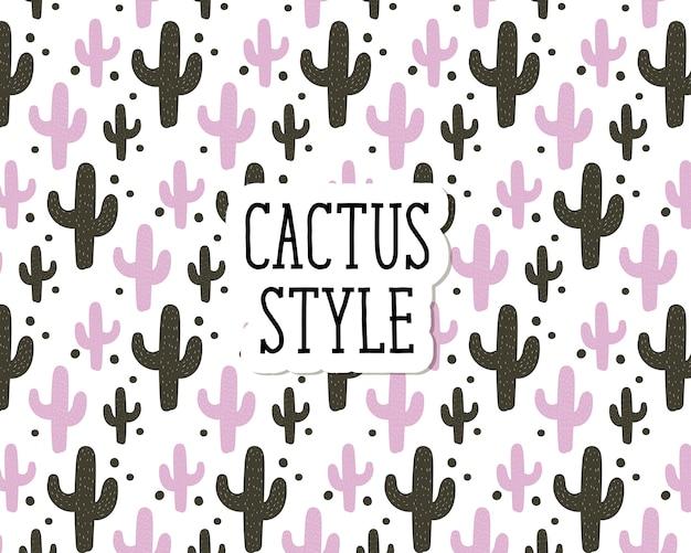 Cactus estilo vector patrón inconsútil lindo