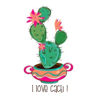 Cactus floreciente en una olla de barro