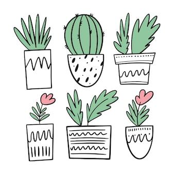 Cactus, flores y otras plantas en macetas blancas. establecer estilo de dibujos animados. aislado.