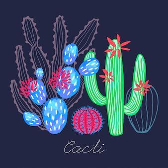 Cactus flores silvestres suculentas colorido estilo acuarela dibujo impresión.