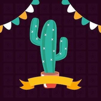 Cactus en maceta con guirnaldas y cinta