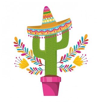 Cactus con maceta y ícono de sombrero mexicano.