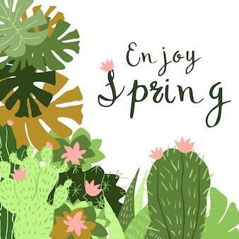 Cactus en maceta, ilustración de diseño plano