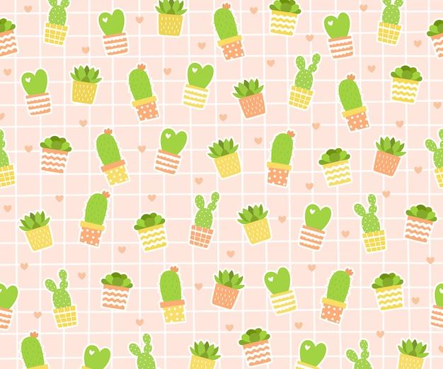 Cactus con mini corazón ilustración de fondo.