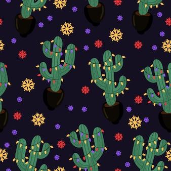 Cactus de navidad. patrón sin fisuras de año nuevo. eps 10