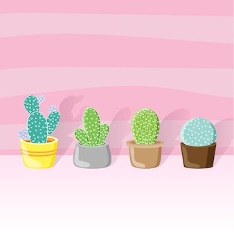 Cactus en una olla todo estilo y diseño de papel tapiz color rosa.