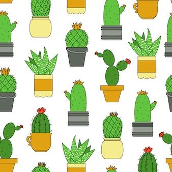 Cactus sin patrón. fondo de repetición de cactus coloreado.