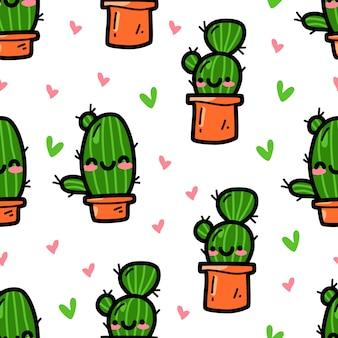 Cactus en patrones sin fisuras de estilo doodle