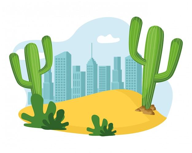 Cactus planta y arena icono de dibujos animados