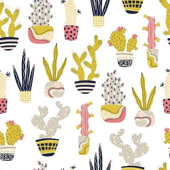 Cactus plantas tropicales en macetas de patrones sin fisuras dibujos animados infantil doodle cactus dibujados a mano