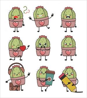 Cactus silvestres con diferentes expresiones faciales kawaii