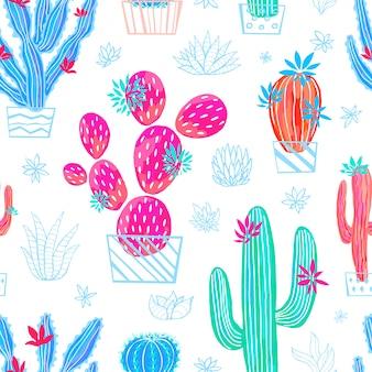 Cactus suculentas flores de patrones sin fisuras silvestres coloridas colecciones brillantes acuarelas. planta de interior hermoso patrón de moda sobre fondo blanco. dibujado a mano.