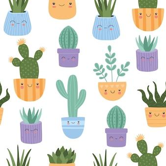 Cactus suculentas lindo con patrones sin fisuras de cara sonriente.