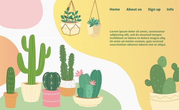 Cactus y suculentas página web de aterrizaje de colección doméstica, concepto banner web plantilla ilustración de dibujos animados página de negocios del sitio web.