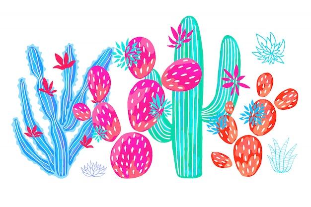 Cactus suculento conjunto de flores silvestres coloridas colecciones de acuarela rosa.
