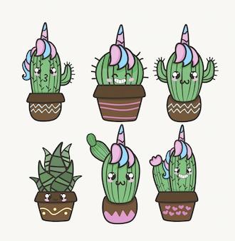 Cactus y suculento unicornio kawaii emoción