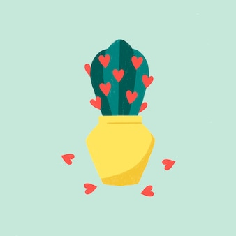 Cactus de tema de amor en una olla