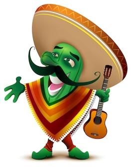Cactus verde mexicano en sombrero y poncho canta