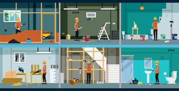 Cada tipo de trabajador de la construcción está trabajando en la casa.