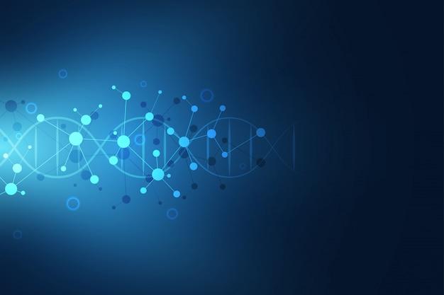 Cadena de adn y estructura molecular. ingeniería genética o investigación de laboratorio.