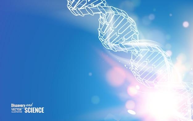 Cadena de adn sobre fondo de ciencia abstracta.