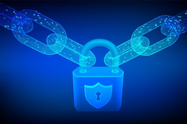 Cadena de bloques. bloquear. cadena de estructura metálica 3d con código digital. ciberseguridad, seguridad, privacidad u otro concepto.