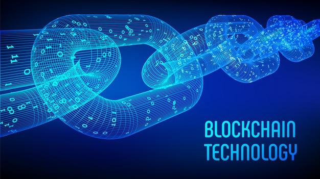 Cadena de bloques. criptomoneda. concepto de blockchain. cadena de estructura metálica 3d con código digital. plantilla editable de criptomonedas. ilustración vectorial de stock