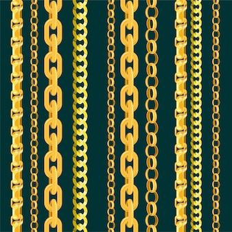 Cadena de cadena de oro de patrones sin fisuras en línea o enlace metálico de ilustración de joyería