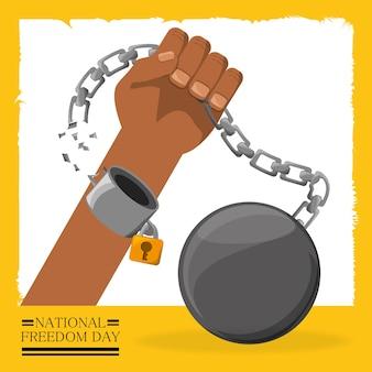 Cadena con candado en la mano para celebrar la libertad