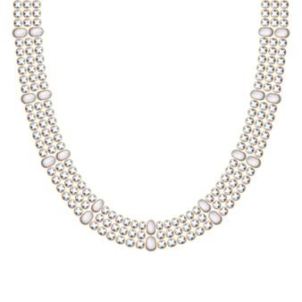 Cadena gruesa con collar o pulsera de perlas y piedras preciosas. accesorio de moda personal estilo étnico indio.