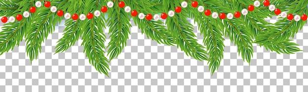 Cadena de guirnalda de navidad o año nuevo con ramas de abeto decoración de invierno sobre fondo transparente