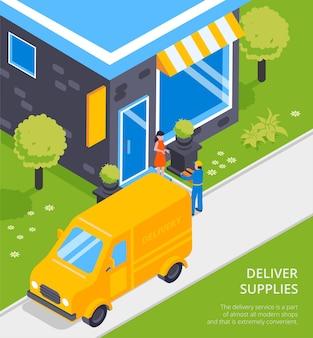 La cadena logística suministra la composición isométrica del servicio de transporte con el mensajero de la camioneta amarilla que entrega el paquete al cliente