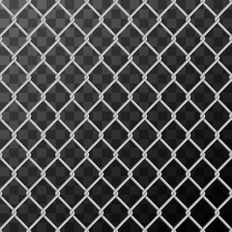 Cadena de metal brillante realista enlace valla de patrones sin fisuras en transparente