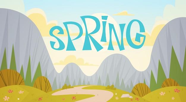 Cadena montañosa primavera paisaje país carretera naturaleza fondo