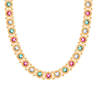 Cadena de oro con collar o pulsera de piedras preciosas de colores. accesorio de moda personal estilo étnico indio.