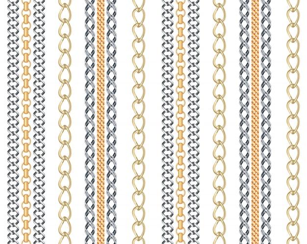 Cadena de oro y plata joyería de patrones sin fisuras.