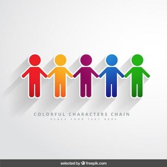 Cadena de personajes coloridos