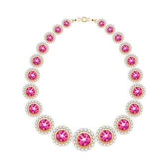 Cadena de piedras preciosas, collar metálico dorado o pulsera con rubíes y diamantes. accesorio de moda personal. ilustración.