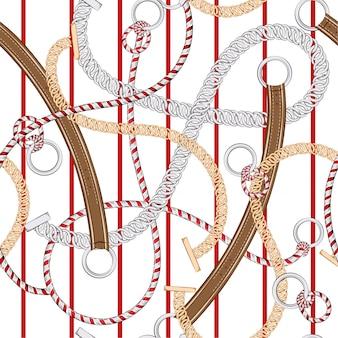 Cadena de plata de moda y único patrón sin costuras, cinturón, en franja roja en vector