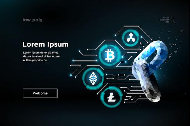 Cadena. tecnología blockchain. ethereum bitcoin ripple coin criptomoneda digital. tecnología de minería de información de big data
